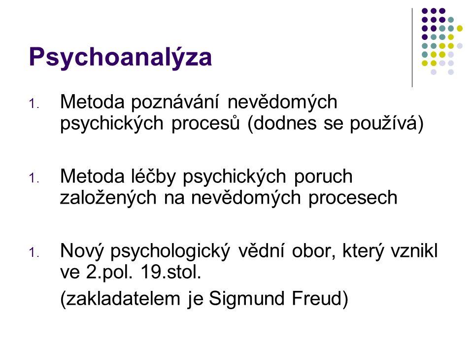 Psychoanalýza 1. Metoda poznávání nevědomých psychických procesů (dodnes se používá) 1. Metoda léčby psychických poruch založených na nevědomých proce