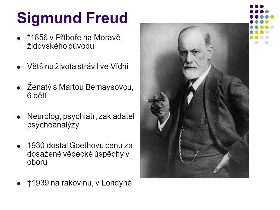 Sigmund Freud *1856 v Příboře na Moravě, židovského původu Většinu života strávil ve Vídni Ženatý s Martou Bernaysovou, 6 dětí Neurolog, psychiatr, zakladatel psychoanalýzy 1930 dostal Goethovu cenu za dosažené vědecké úspěchy v oboru †1939 na rakovinu, v Londýně