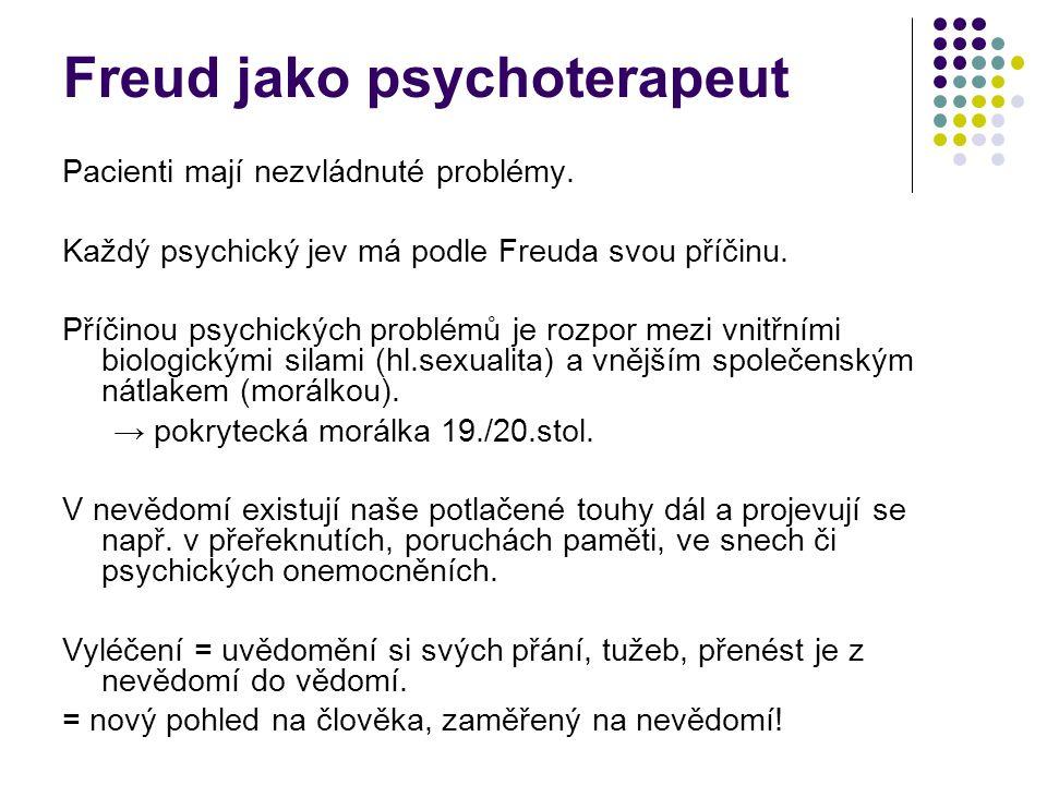 Pacienti mají nezvládnuté problémy. Každý psychický jev má podle Freuda svou příčinu. Příčinou psychických problémů je rozpor mezi vnitřními biologick