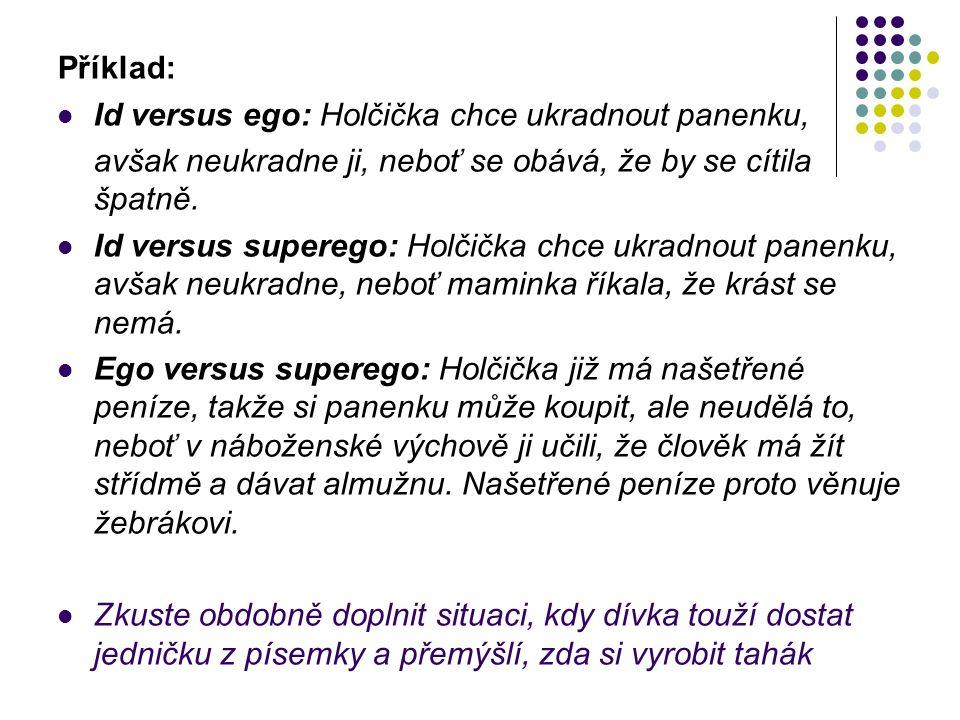 Příklad: Id versus ego: Holčička chce ukradnout panenku, avšak neukradne ji, neboť se obává, že by se cítila špatně.