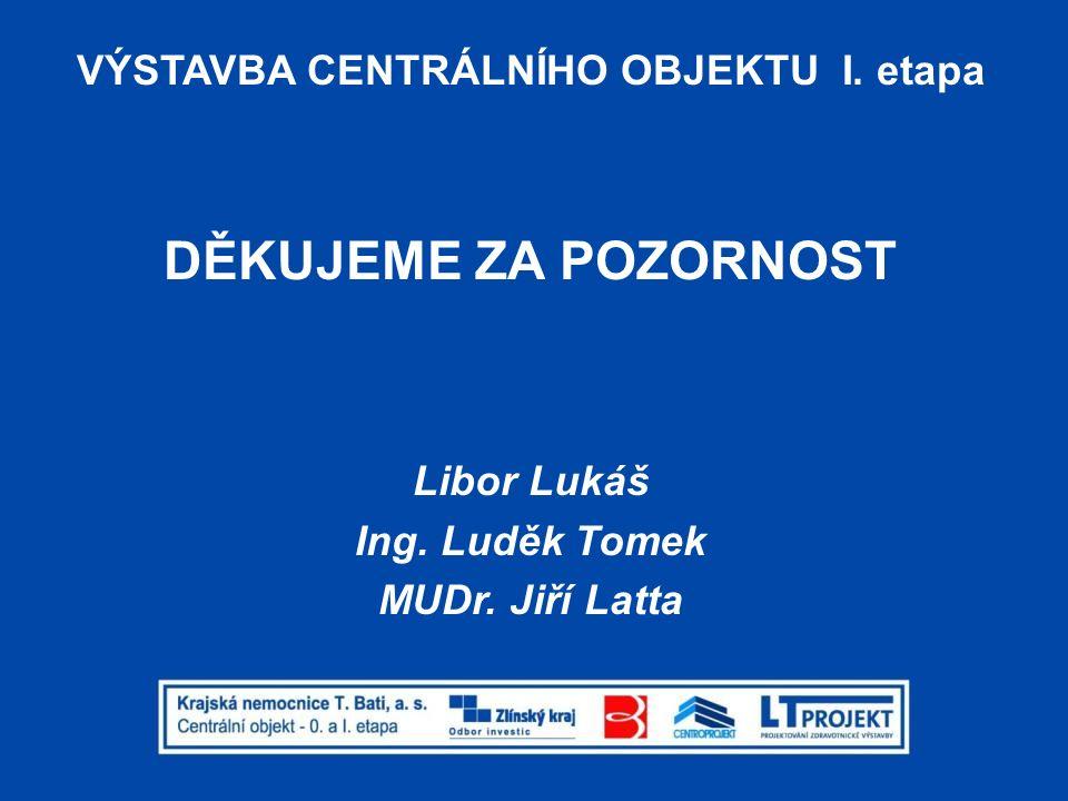 VÝSTAVBA CENTRÁLNÍHO OBJEKTU I. etapa DĚKUJEME ZA POZORNOST Libor Lukáš Ing. Luděk Tomek MUDr. Jiří Latta
