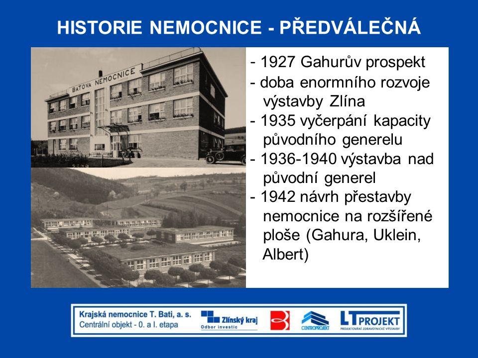 HISTORIE NEMOCNICE - POVÁLEČNÁ -1973 nový generel (Strnadel,Vorel,Svoboda) -1975-85 realizována pouze jedna etapa z pěti -dále již výstavba zcela mimo jakoukoliv celkovou koncepci nemocnice (budovy 23,25,47,48 atd.) -2008 po 35ti leté přestávce zpracován nový generel (LT Projekt)