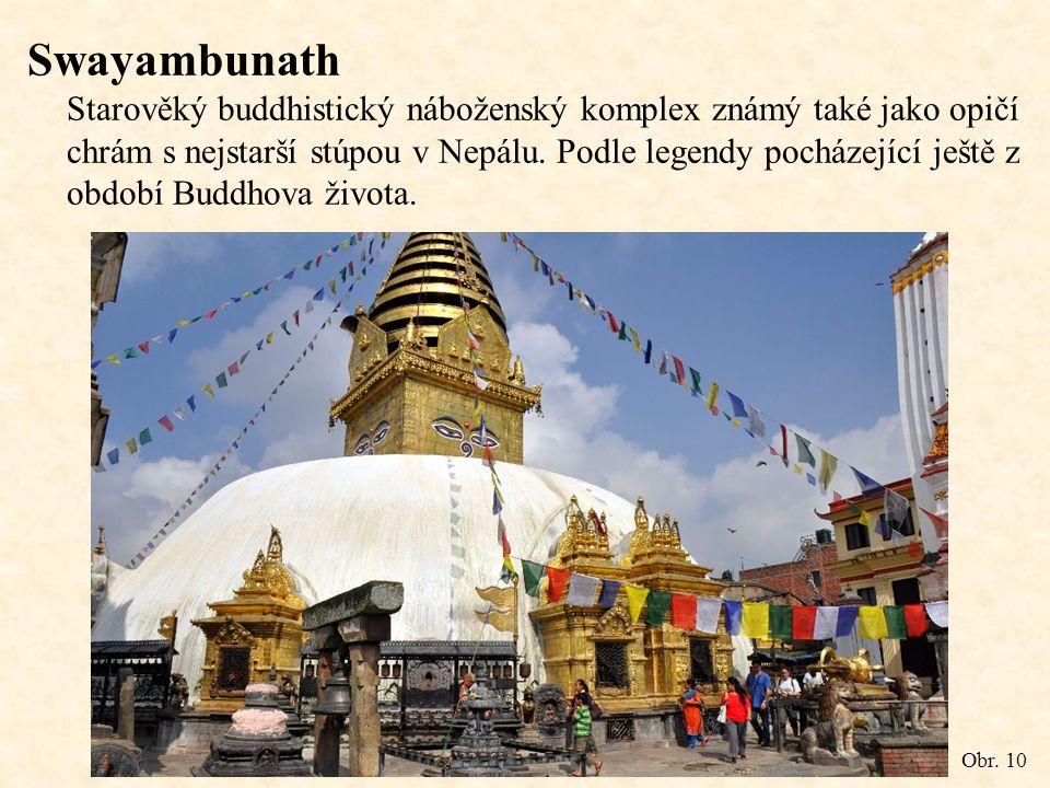 Swayambunath Starověký buddhistický náboženský komplex známý také jako opičí chrám s nejstarší stúpou v Nepálu.