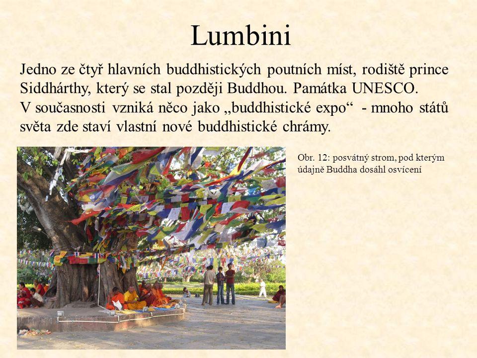 Lumbini Jedno ze čtyř hlavních buddhistických poutních míst, rodiště prince Siddhárthy, který se stal později Buddhou.