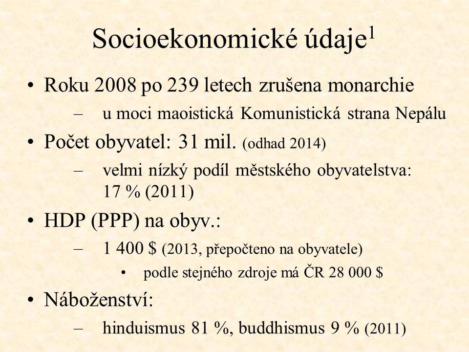 Socioekonomické údaje 1 Roku 2008 po 239 letech zrušena monarchie –u moci maoistická Komunistická strana Nepálu Počet obyvatel: 31 mil.