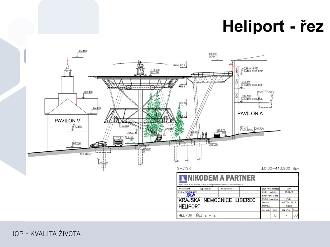 Heliport - řez