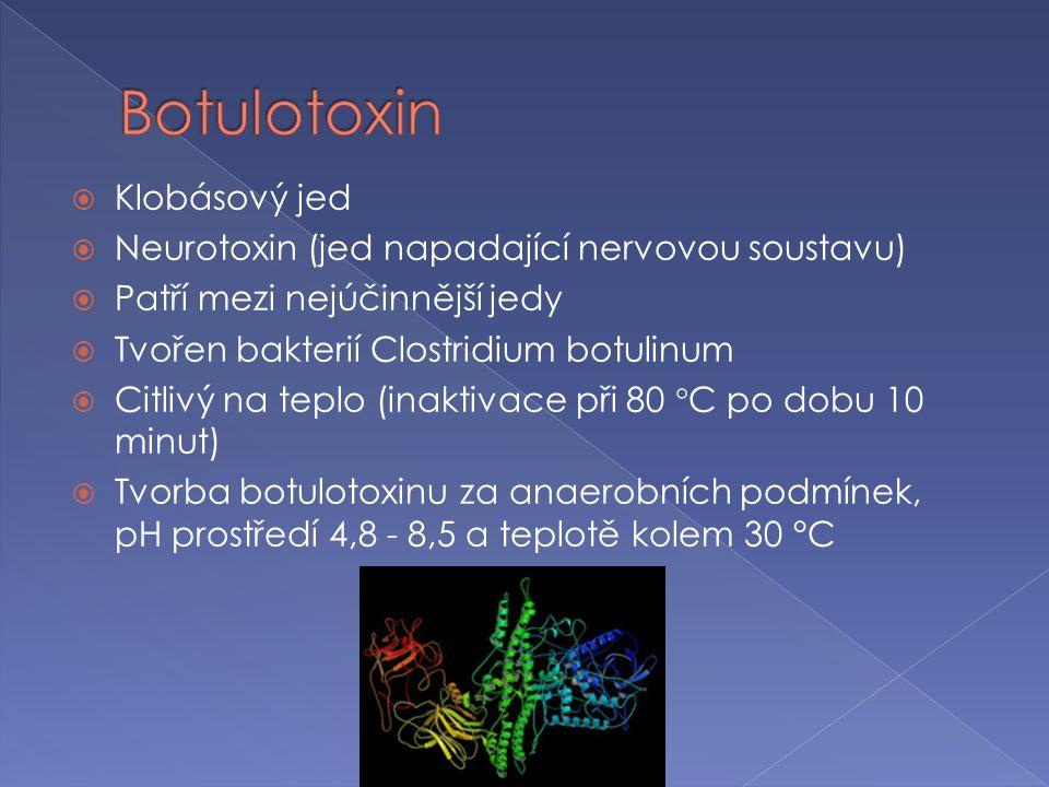  Klobásový jed  Neurotoxin (jed napadající nervovou soustavu)  Patří mezi nejúčinnější jedy  Tvořen bakterií Clostridium botulinum  Citlivý na teplo (inaktivace při 80  C po dobu 10 minut)  Tvorba botulotoxinu za anaerobních podmínek, pH prostředí 4,8 - 8,5 a teplotě kolem 30 °C