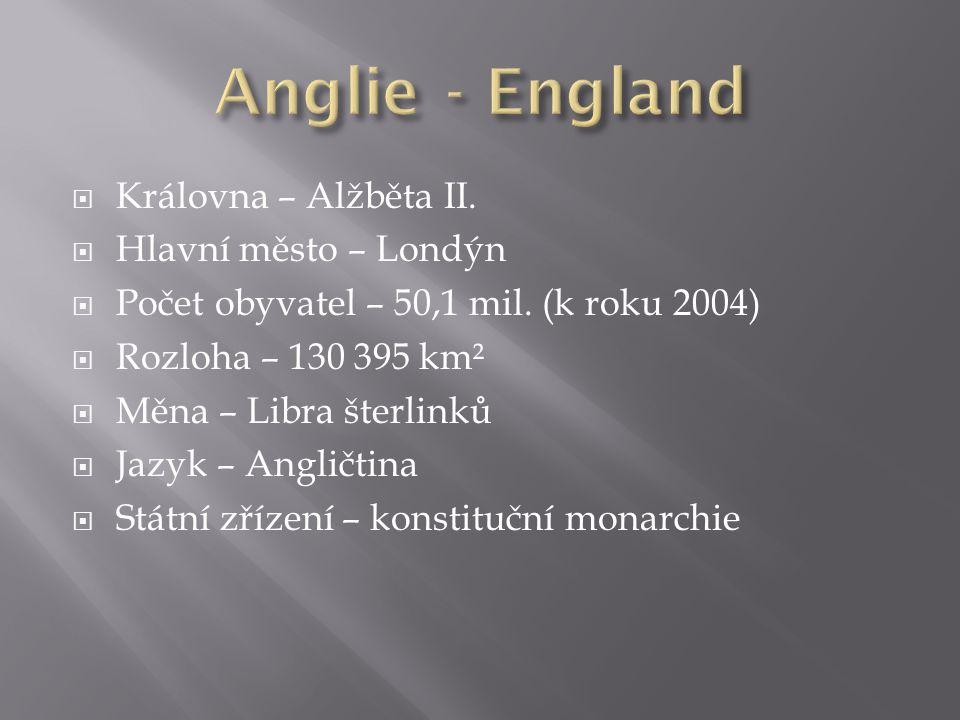  Královna – Alžběta II.  Hlavní město – Londýn  Počet obyvatel – 50,1 mil.