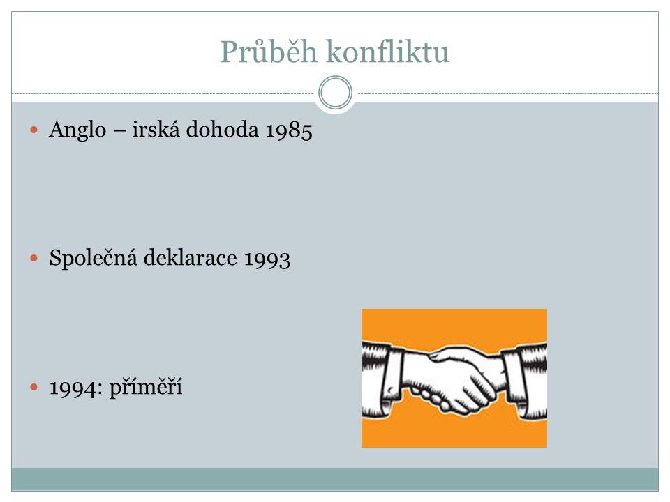 Průběh konfliktu Anglo – irská dohoda 1985 Společná deklarace 1993 1994: příměří