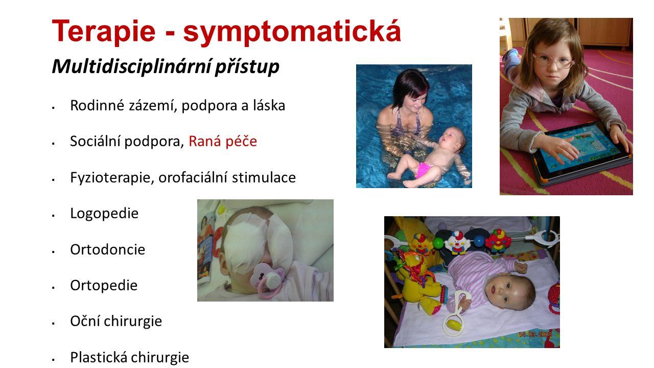 Terapie - symptomatická Multidisciplinární přístup  Rodinné zázemí, podpora a láska  Sociální podpora, Raná péče  Fyzioterapie, orofaciální stimula