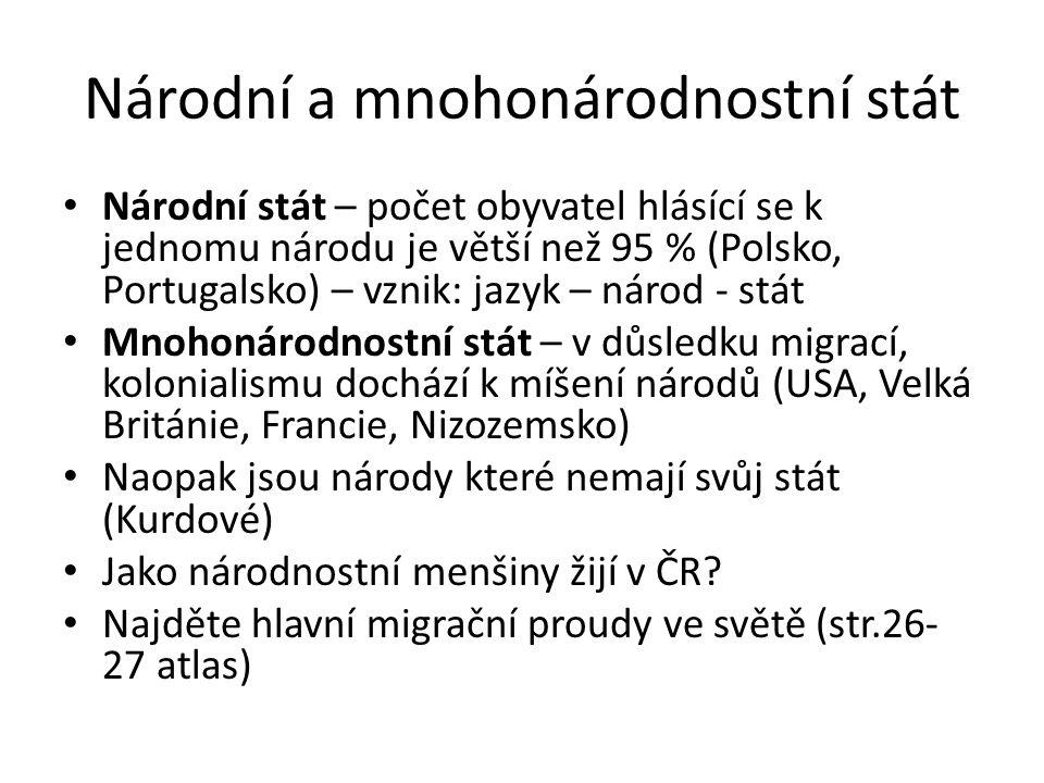 Národní a mnohonárodnostní stát Národní stát – počet obyvatel hlásící se k jednomu národu je větší než 95 % (Polsko, Portugalsko) – vznik: jazyk – nár