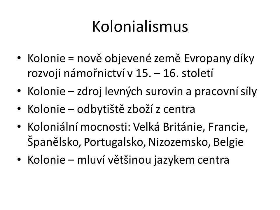 Kolonialismus Kolonie = nově objevené země Evropany díky rozvoji námořnictví v 15. – 16. století Kolonie – zdroj levných surovin a pracovní síly Kolon