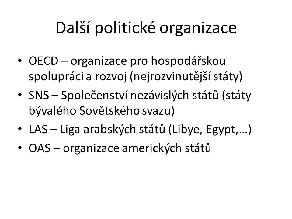 Další politické organizace OECD – organizace pro hospodářskou spolupráci a rozvoj (nejrozvinutější státy) SNS – Společenství nezávislých států (státy bývalého Sovětského svazu) LAS – Liga arabských států (Libye, Egypt,…) OAS – organizace amerických států