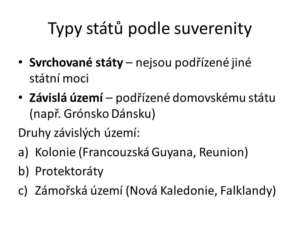 Typy států podle suverenity Svrchované státy – nejsou podřízené jiné státní moci Závislá území – podřízené domovskému státu (např. Grónsko Dánsku) Dru