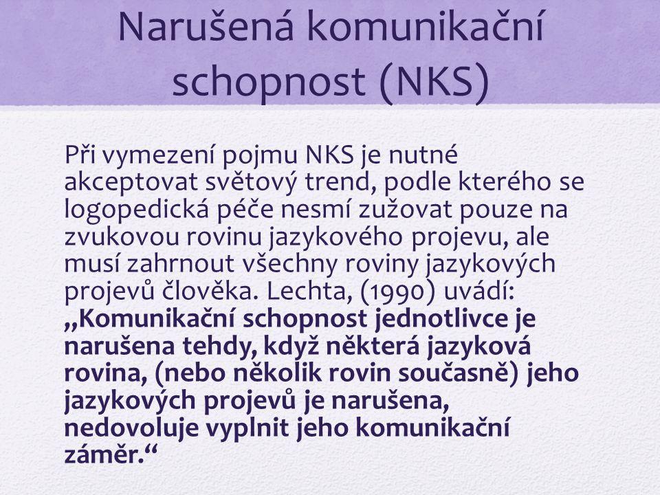 Narušená komunikační schopnost (NKS) Při vymezení pojmu NKS je nutné akceptovat světový trend, podle kterého se logopedická péče nesmí zužovat pouze na zvukovou rovinu jazykového projevu, ale musí zahrnout všechny roviny jazykových projevů člověka.
