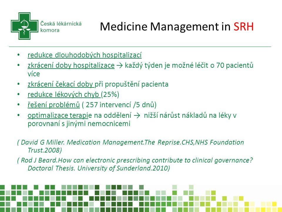 Medicine Management in SRH redukce dlouhodobých hospitalizací zkrácení doby hospitalizace → každý týden je možné léčit o 70 pacientů více zkrácení čekací doby při propuštění pacienta redukce lékových chyb (25%) řešení problémů ( 257 intervencí /5 dnů) optimalizace terapie na oddělení → nižší nárůst nákladů na léky v porovnaní s jinými nemocnicemi ( David G Miller.