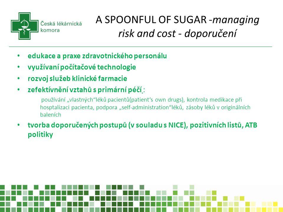 A SPOONFUL OF SUGAR -managing risk and cost - doporučení edukace a praxe zdravotnického personálu využívaní počítačové technologie rozvoj služeb klini