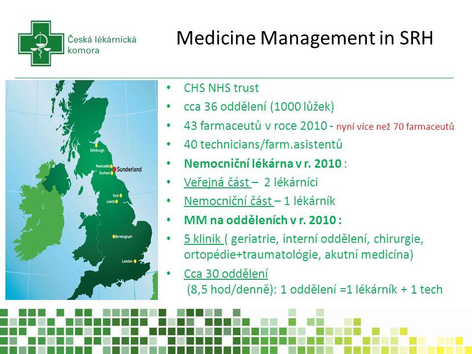 Medicine Management in SRH CHS NHS trust cca 36 oddělení (1000 lůžek) 43 farmaceutů v roce 2010 - nyní více než 70 farmaceutů 40 technicians/farm.asistentů Nemocniční lékárna v r.