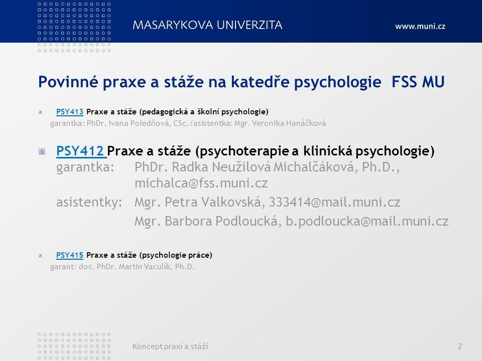 Koncept praxí a stáží2 Povinné praxe a stáže na katedře psychologie FSS MU PSY413 Praxe a stáže (pedagogická a školní psychologie) garantka: PhDr.