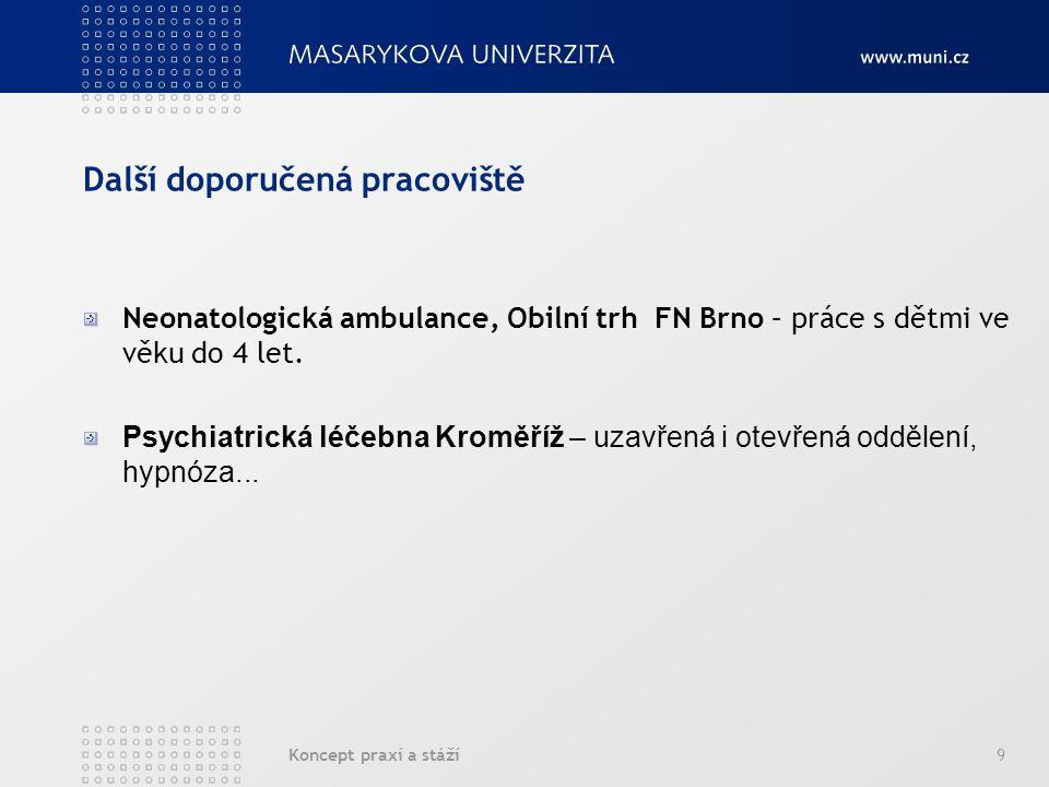Koncept praxí a stáží9 Další doporučená pracoviště Neonatologická ambulance, Obilní trh FN Brno – práce s dětmi ve věku do 4 let.