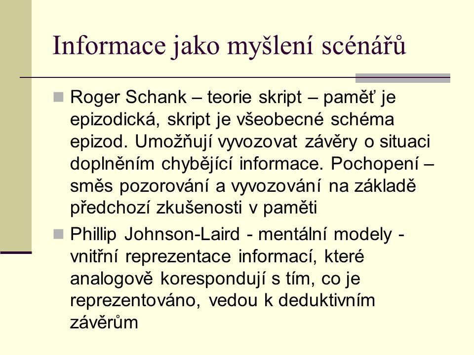 Informace jako myšlení scénářů Roger Schank – teorie skript – paměť je epizodická, skript je všeobecné schéma epizod. Umožňují vyvozovat závěry o situ