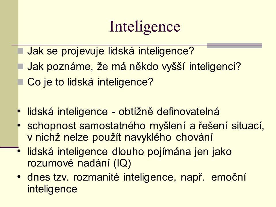 Inteligence Jak se projevuje lidská inteligence? Jak poznáme, že má někdo vyšší inteligenci? Co je to lidská inteligence? lidská inteligence - obtížně