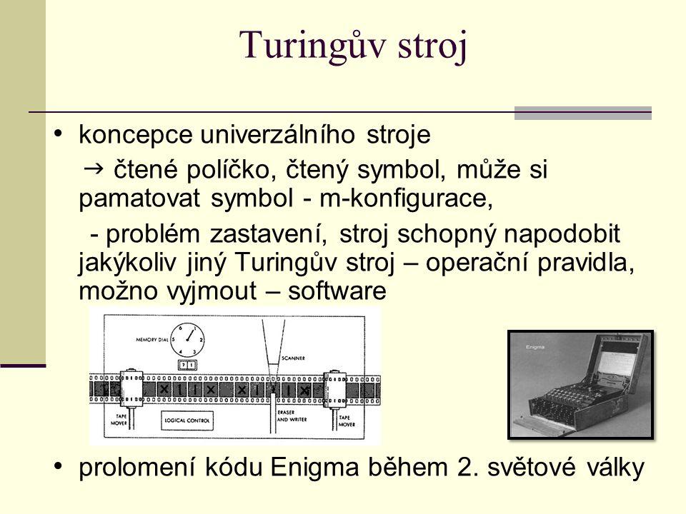 Turingův stroj koncepce univerzálního stroje  čtené políčko, čtený symbol, může si pamatovat symbol - m-konfigurace, - problém zastavení, stroj schop