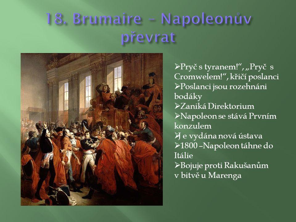 """ Pryč s tyranem! , """"Pryč s Cromwelem! , křičí poslanci  Poslanci jsou rozehnáni bodáky  Zaniká Direktorium  Napoleon se stává Prvním konzulem  J e vydána nová ústava  1800 –Napoleon táhne do Itálie  Bojuje proti Rakušanům v bitvě u Marenga"""