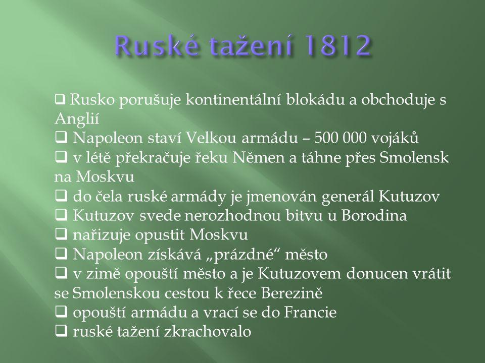 """ Rusko porušuje kontinentální blokádu a obchoduje s Anglií  Napoleon staví Velkou armádu – 500 000 vojáků  v létě překračuje řeku Němen a táhne přes Smolensk na Moskvu  do čela ruské armády je jmenován generál Kutuzov  Kutuzov svede nerozhodnou bitvu u Borodina  nařizuje opustit Moskvu  Napoleon získává """"prázdné město  v zimě opouští město a je Kutuzovem donucen vrátit se Smolenskou cestou k řece Berezině  opouští armádu a vrací se do Francie  ruské tažení zkrachovalo"""