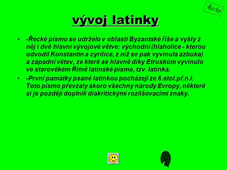 vývoj latinky -Řecké písmo se udrželo v oblasti Byzantské říše a vyšly z něj i dvě hlavní vývojové větve: východní (hlaholice - kterou odvodil Konstan