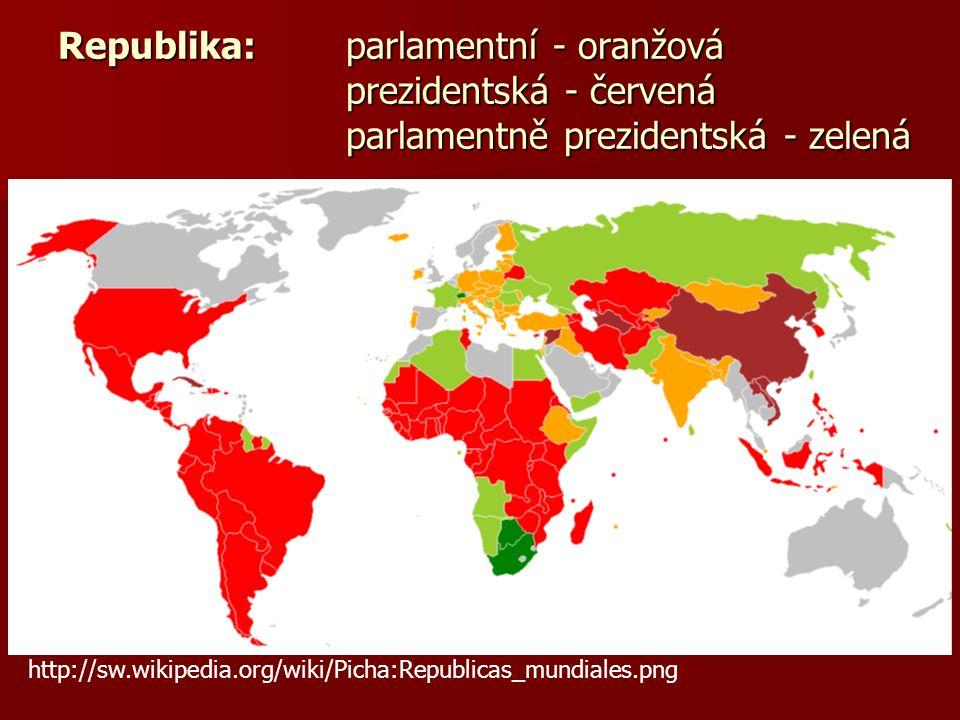 Republika: parlamentní - oranžová prezidentská - červená parlamentně prezidentská - zelená http://sw.wikipedia.org/wiki/Picha:Republicas_mundiales.png