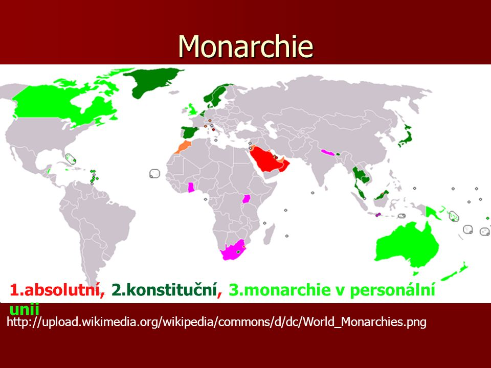 Monarchie http://upload.wikimedia.org/wikipedia/commons/d/dc/World_Monarchies.png 1.absolutní, 2.konstituční, 3.monarchie v personální unii