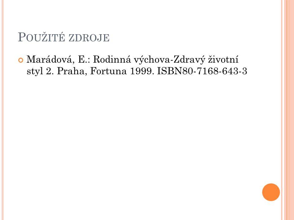 P OUŽITÉ ZDROJE Marádová, E.: Rodinná výchova-Zdravý životní styl 2.