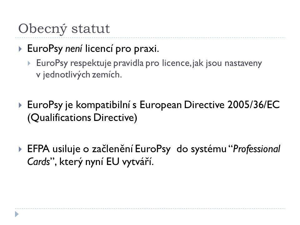 Obecný statut  EuroPsy není licencí pro praxi.
