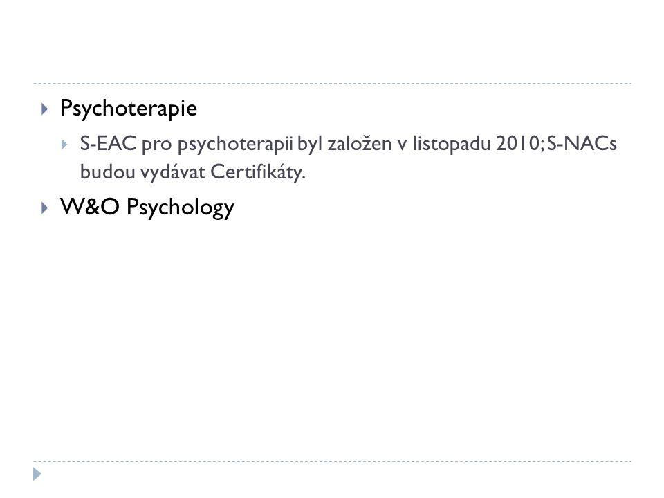  Psychoterapie  S-EAC pro psychoterapii byl založen v listopadu 2010; S-NACs budou vydávat Certifikáty.