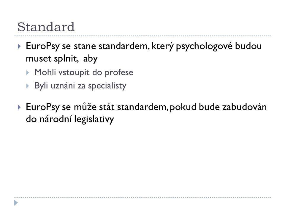 Standard  EuroPsy se stane standardem, který psychologové budou muset splnit, aby  Mohli vstoupit do profese  Byli uznáni za specialisty  EuroPsy se může stát standardem, pokud bude zabudován do národní legislativy