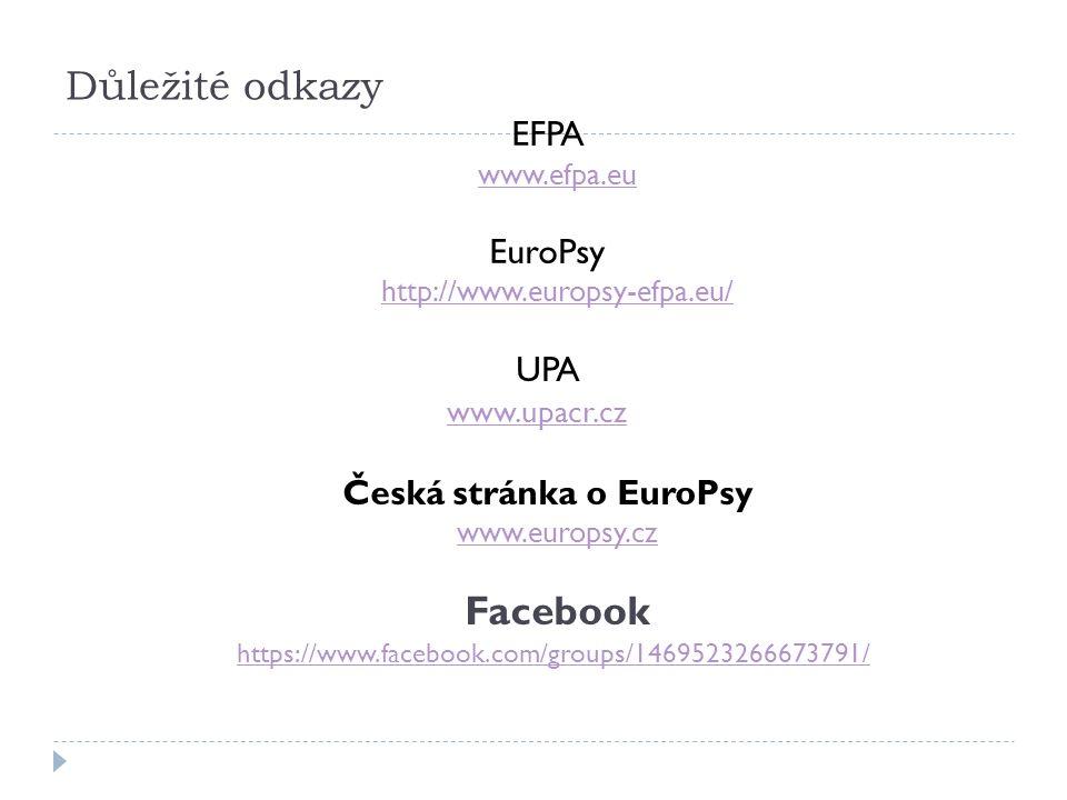 Důležité odkazy EFPA www.efpa.eu EuroPsy http://www.europsy-efpa.eu/ UPA www.upacr.cz Česká stránka o EuroPsy www.europsy.cz Facebook https://www.facebook.com/groups/1469523266673791/