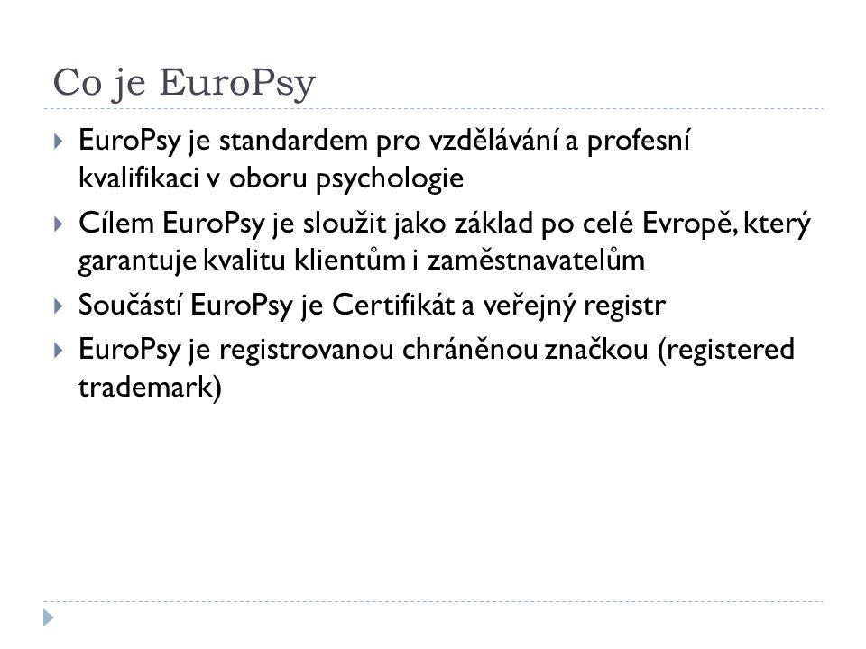 Co je EuroPsy  EuroPsy je standardem pro vzdělávání a profesní kvalifikaci v oboru psychologie  Cílem EuroPsy je sloužit jako základ po celé Evropě, který garantuje kvalitu klientům i zaměstnavatelům  Součástí EuroPsy je Certifikát a veřejný registr  EuroPsy je registrovanou chráněnou značkou (registered trademark)