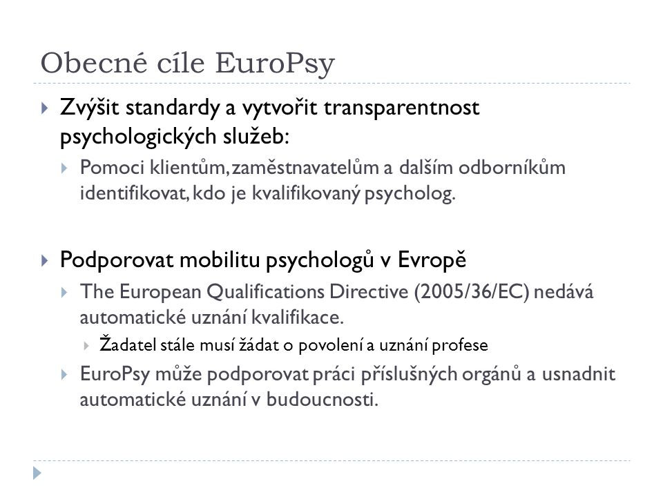 Jaké výhody EuroPsy nabízí.1.