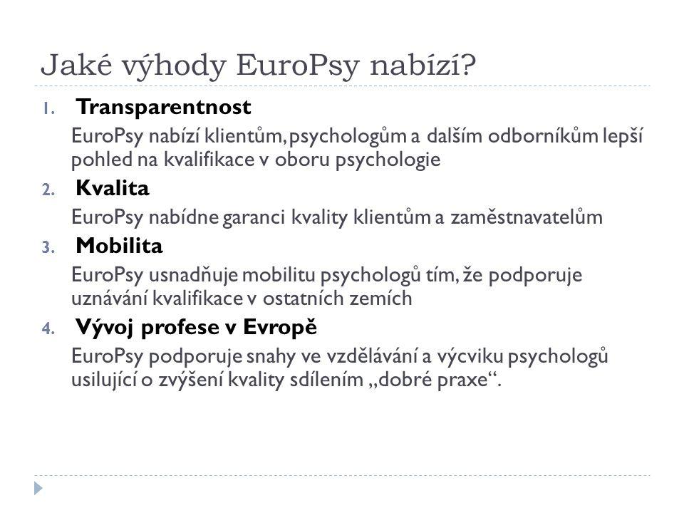 Omezení validity  Validita EuroPsy je omezena na jednu z oblastí praxe:  Psychologie zdraví a Klinická psychologie  Práce a organizace  Školní psychologie  Jiné (např.