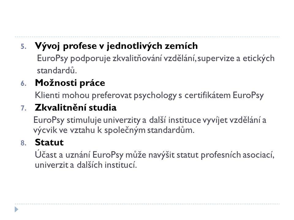 5. Vývoj profese v jednotlivých zemích EuroPsy podporuje zkvalitňování vzdělání, supervize a etických standardů. 6. Možnosti práce Klienti mohou prefe