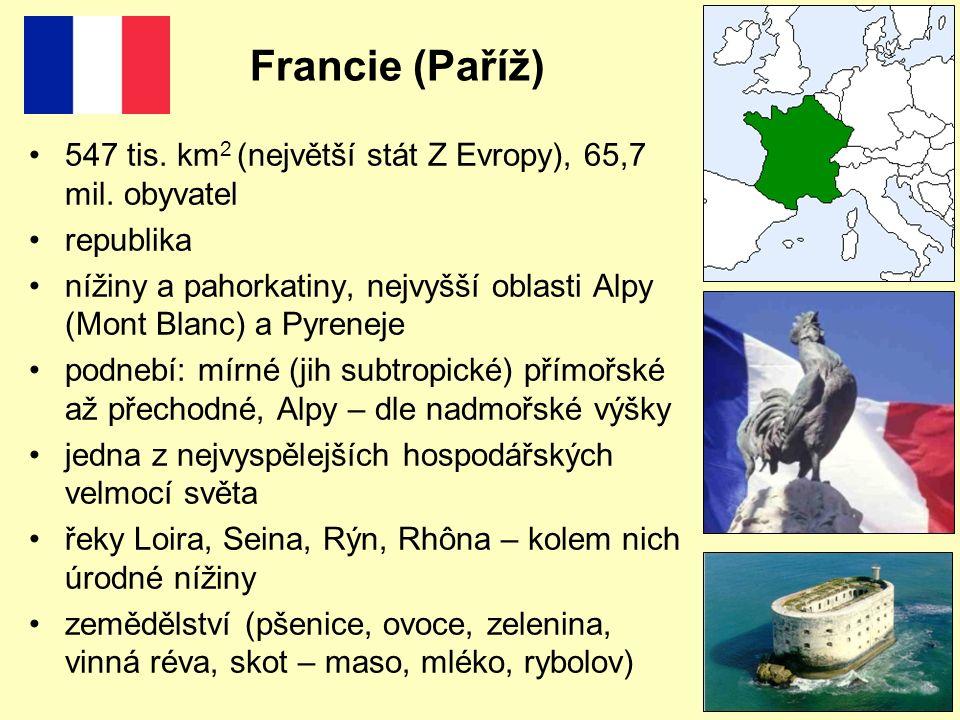 Francie (Paříž) 547 tis. km 2 (největší stát Z Evropy), 65,7 mil. obyvatel republika nížiny a pahorkatiny, nejvyšší oblasti Alpy (Mont Blanc) a Pyrene
