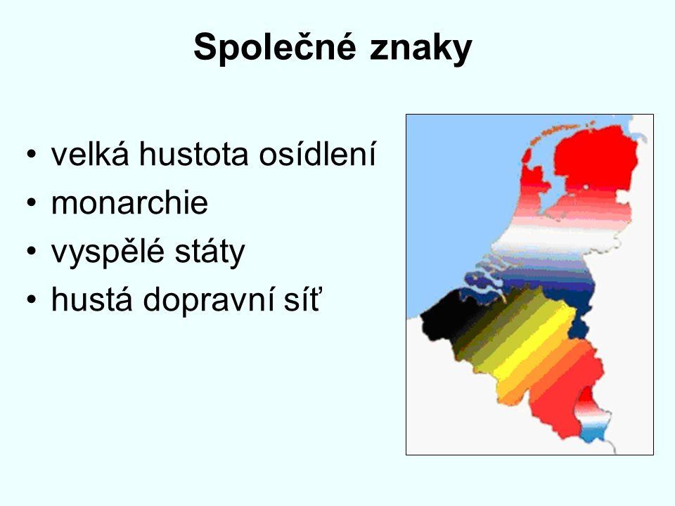 Společné znaky velká hustota osídlení monarchie vyspělé státy hustá dopravní síť