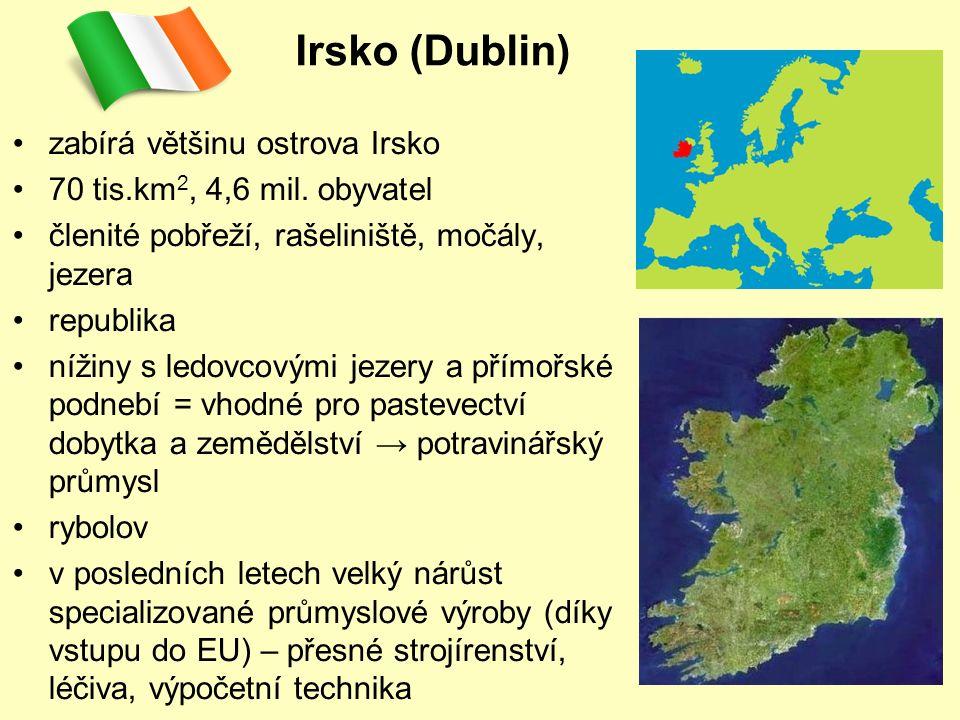 Irsko (Dublin) zabírá většinu ostrova Irsko 70 tis.km 2, 4,6 mil.