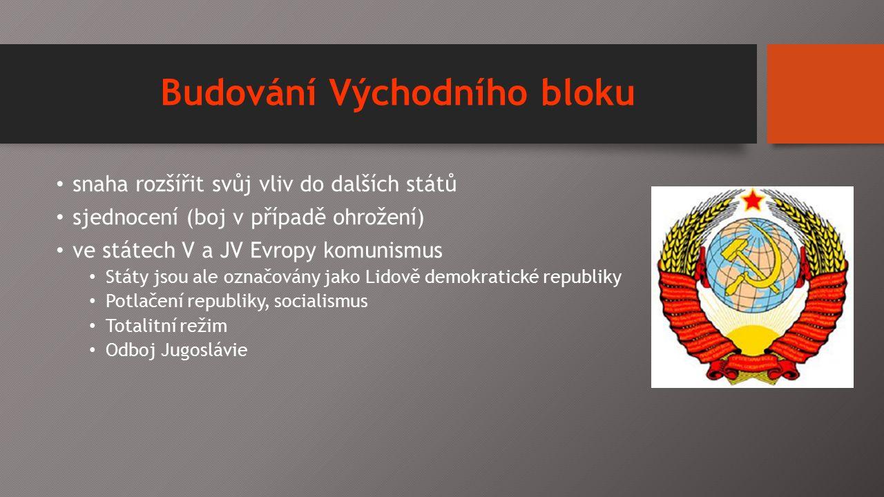 Budování Východního bloku snaha rozšířit svůj vliv do dalších států sjednocení (boj v případě ohrožení) ve státech V a JV Evropy komunismus Státy jsou ale označovány jako Lidově demokratické republiky Potlačení republiky, socialismus Totalitní režim Odboj Jugoslávie