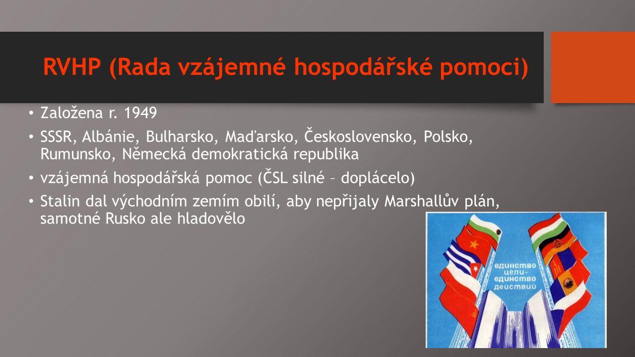 RVHP (Rada vzájemné hospodářské pomoci) Založena r.