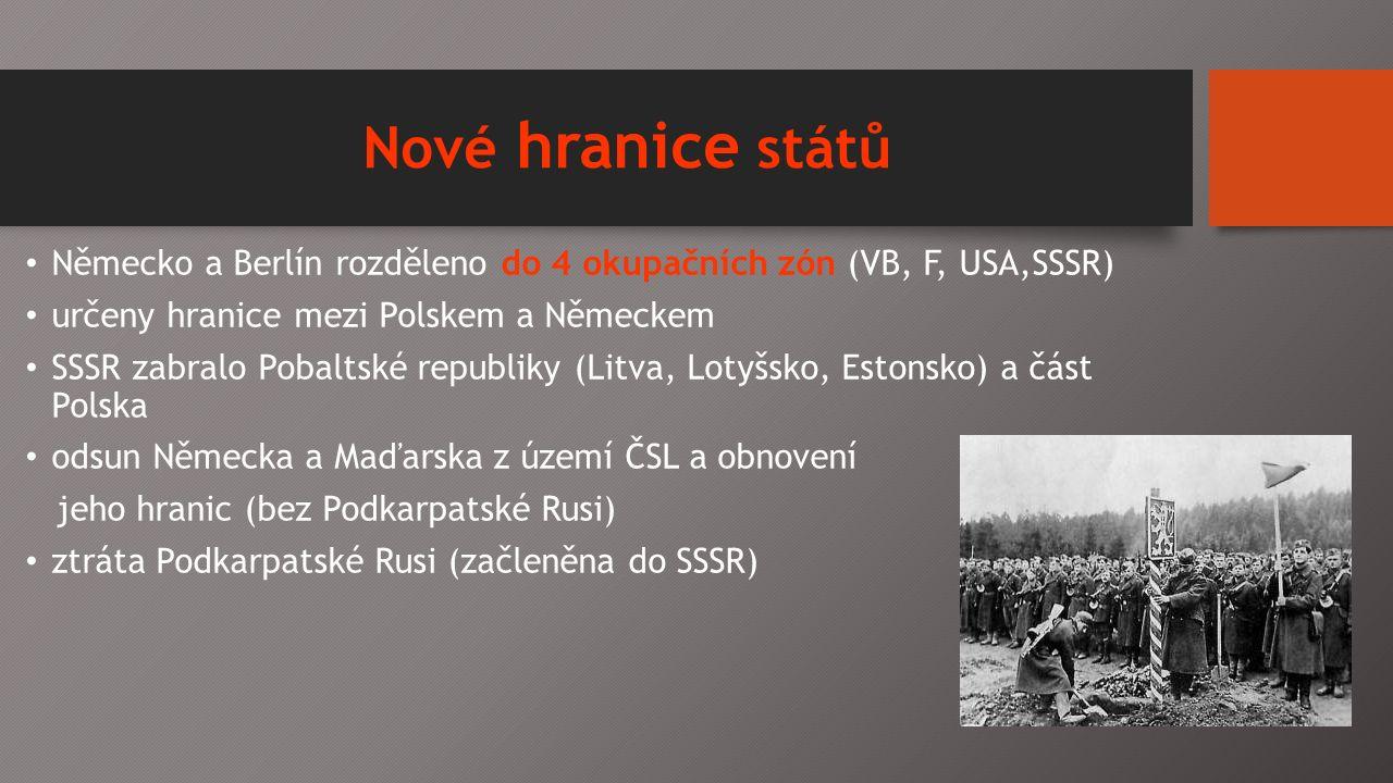 Nové hranice států Německo a Berlín rozděleno do 4 okupačních zón (VB, F, USA,SSSR) určeny hranice mezi Polskem a Německem SSSR zabralo Pobaltské republiky (Litva, Lotyšsko, Estonsko) a část Polska odsun Německa a Maďarska z území ČSL a obnovení jeho hranic (bez Podkarpatské Rusi) ztráta Podkarpatské Rusi (začleněna do SSSR)
