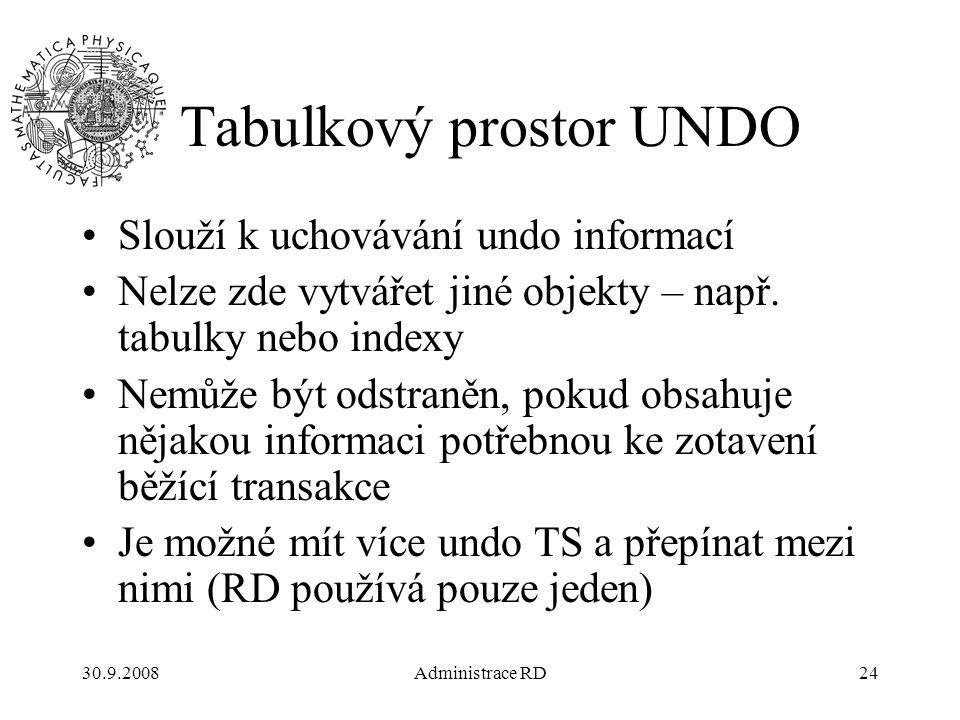 30.9.2008Administrace RD24 Tabulkový prostor UNDO Slouží k uchovávání undo informací Nelze zde vytvářet jiné objekty – např.