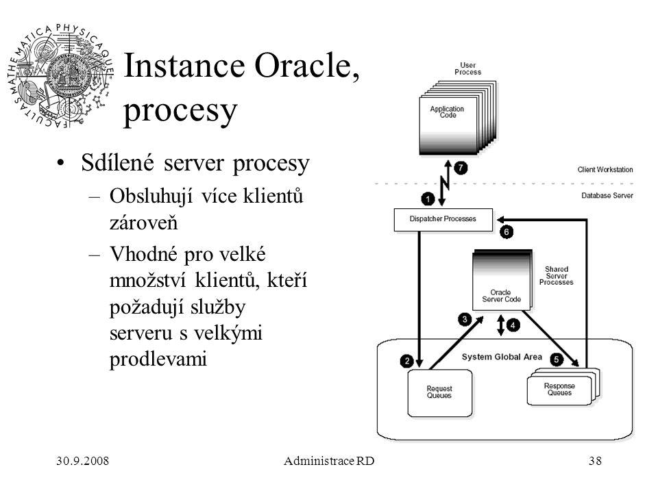 30.9.2008Administrace RD38 Instance Oracle, procesy Sdílené server procesy –Obsluhují více klientů zároveň –Vhodné pro velké množství klientů, kteří požadují služby serveru s velkými prodlevami