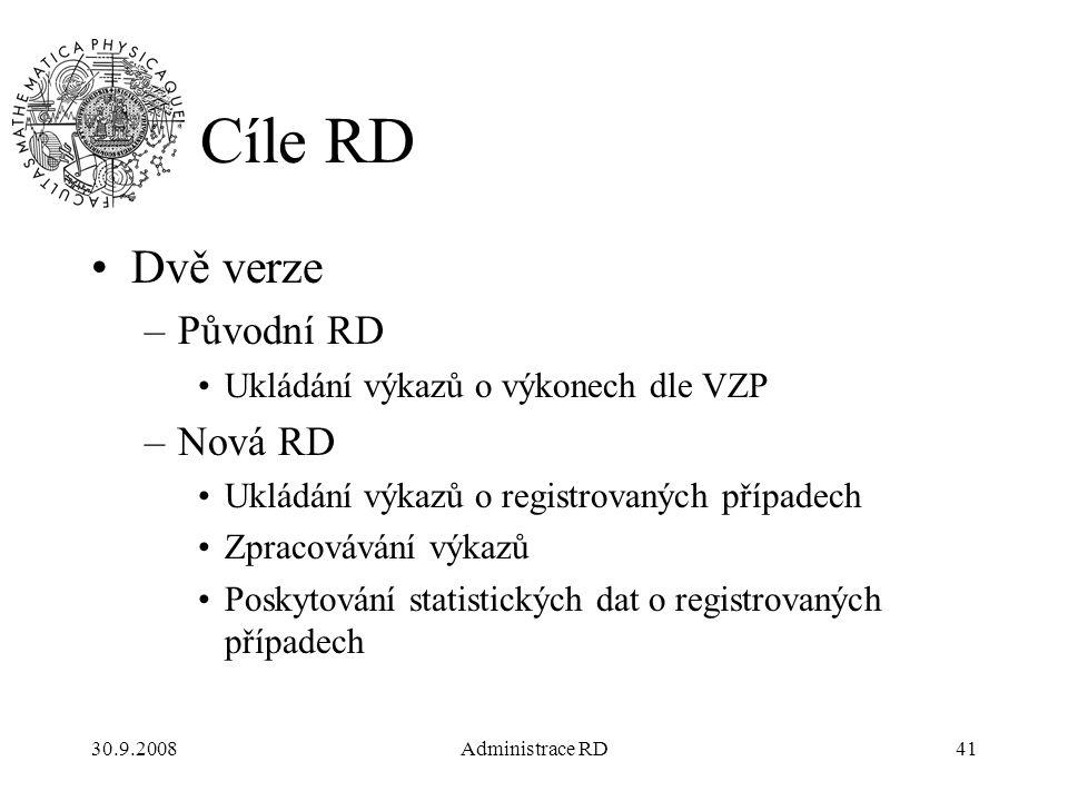 30.9.2008Administrace RD41 Cíle RD Dvě verze –Původní RD Ukládání výkazů o výkonech dle VZP –Nová RD Ukládání výkazů o registrovaných případech Zpracovávání výkazů Poskytování statistických dat o registrovaných případech